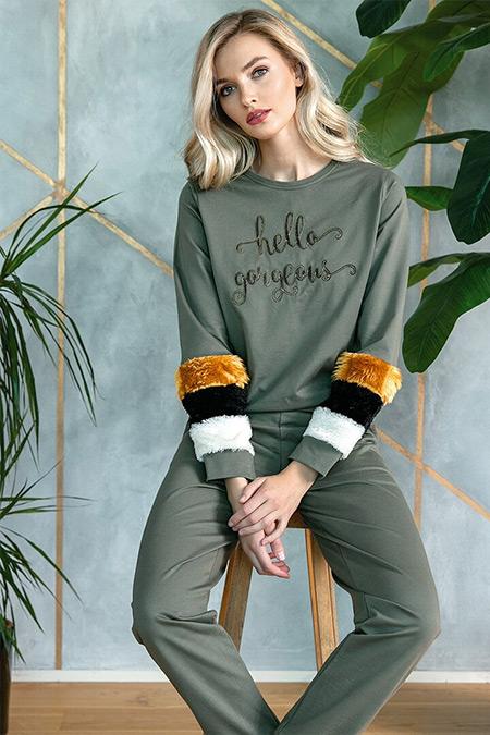 Lingabooms Haki İkili Pijama Takımı