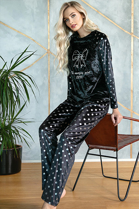 Lingabooms Siyah İkili Pijama Takımı