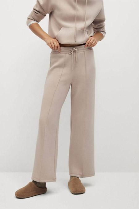 Mango Kadın Bej Beli Elastik Pantolon