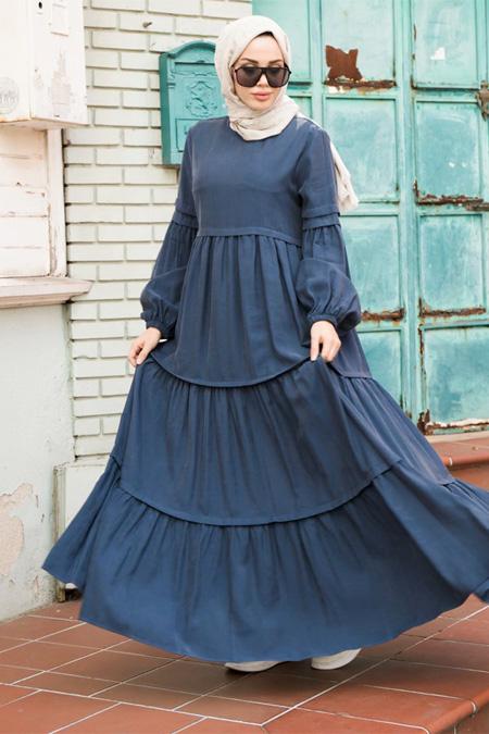 Neways İndigo Piliseli Elbise