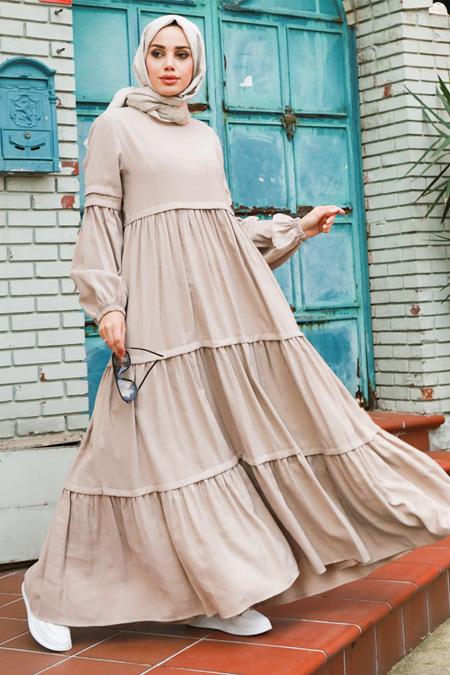 Neways Bej Piliseli Elbise