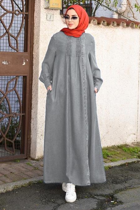 Neways Gri Düğmeli Kot Elbise