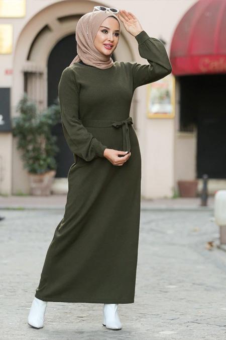 Neways Haki Kuşaklı Triko Elbise