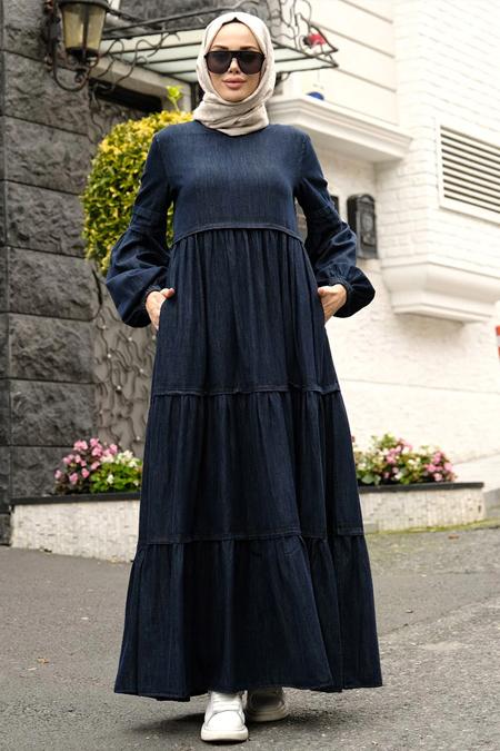 Neways Lacivert Piliseli Elbise