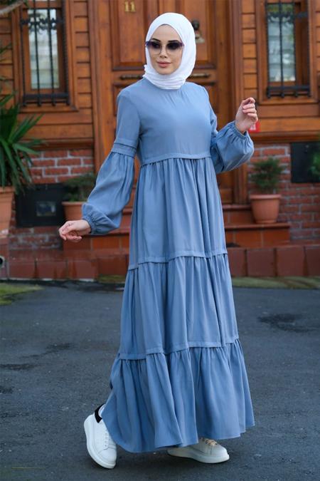 Neways Mavi Balon Kol Elbise