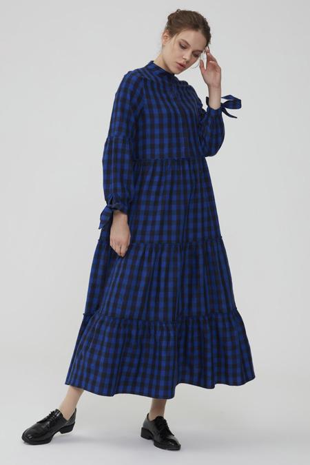 Normcore Mavi Kolu Bağlamalı Kaşmir Pötikare Elbise