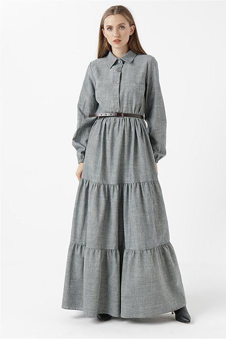 RBASİC Açık Denim Oxford Elbise