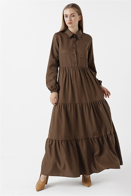 RBASİC Kahverengi Oxford Elbise