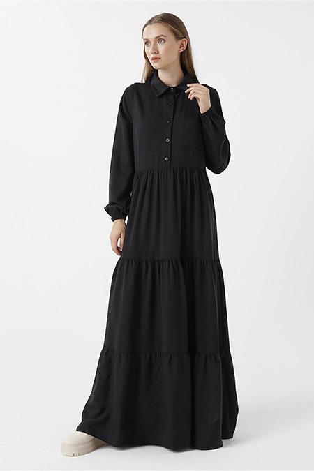 RBASİC Siyah Oxford Elbise