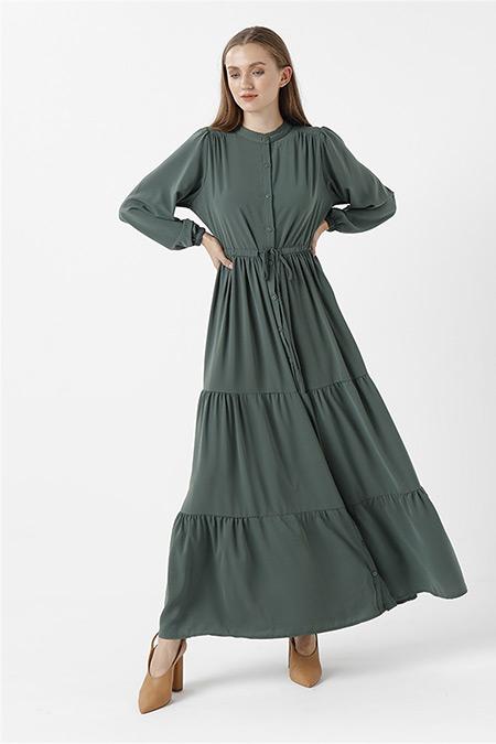RBASİC Yeşil Oxford Elbise