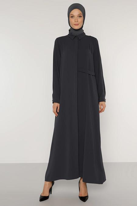 Refka Antrasit Bel Detaylı Boydan Gizli Düğmeli Elbise