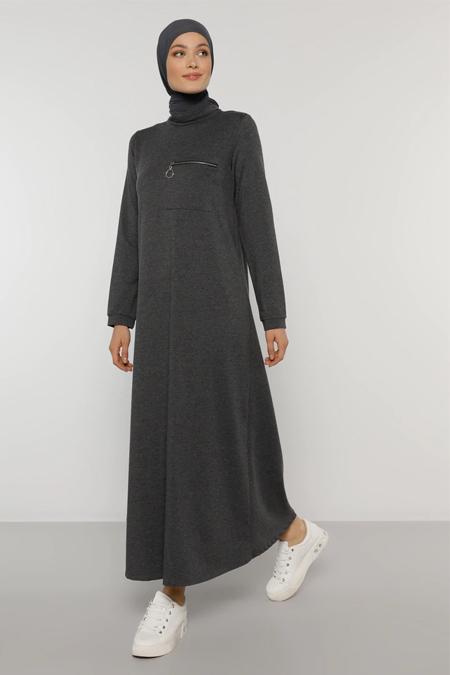 Refka Antrasit Cep Detaylı Elbise