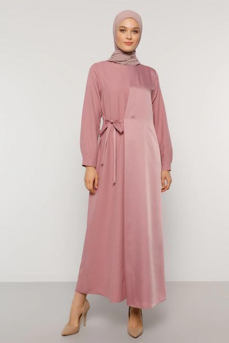 Refka Gül Kurusu Beli Bağcıklı Elbise