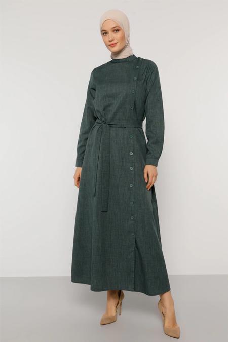 Refka Koyu Yeşil Düğme Detaylı Kuşaklı Elbise