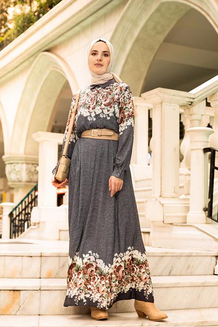 Refka Lacivert Doğal Kumaşlı Desenli Elbise