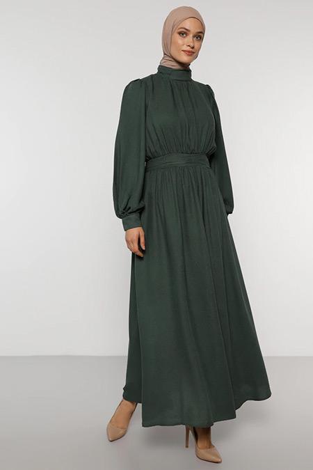 Refka Orman Yeşili Beli Büzgülü Elbise