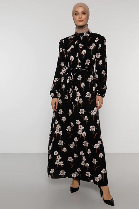 Refka Siyah Çiçek Desenli Elbise