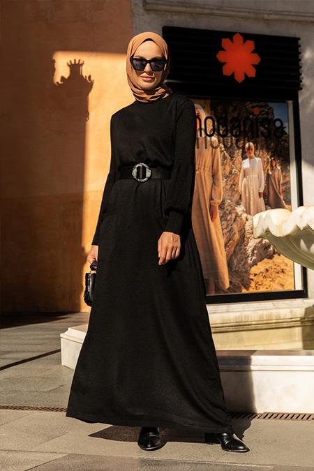 Refka Siyah Balon Kollu Cep Detaylı Triko Elbise