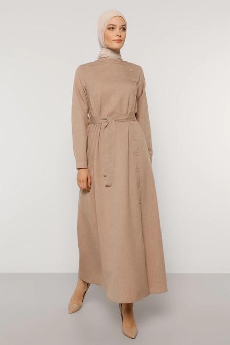 Refka Vizon Düğme Detaylı Kuşaklı Elbise