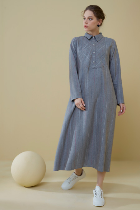 Normcore Gri Verevli Pamuklu Doğal Kumaş Elbise