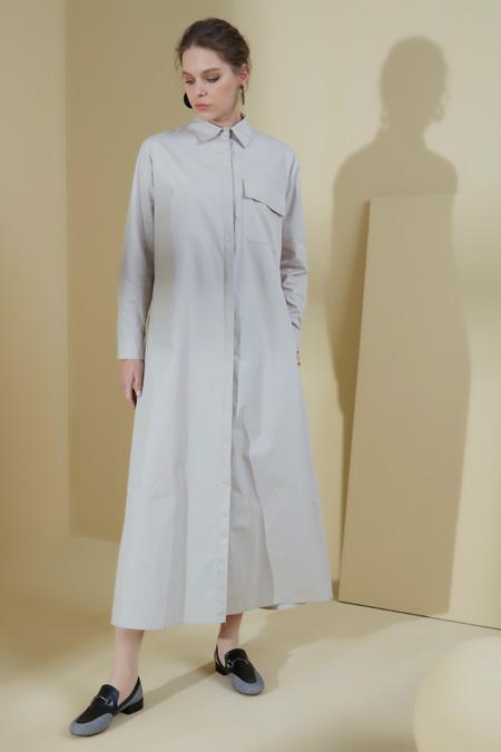 Normcore Taş Gizli Düğmeli Uzun Tunik Kap