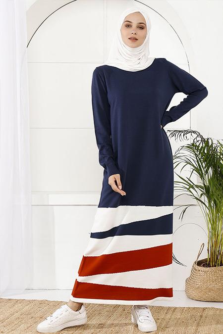 İnşirah Lacivert Parçalı Renkli Elbise