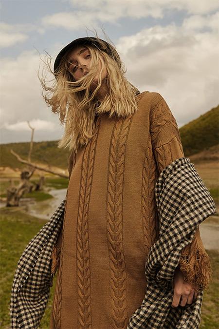 Allday Kahverengi Eteği Saçaklı Uzun Tunik