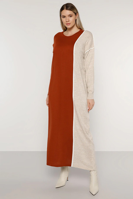 Alia Kiremit Taş Biye Detaylı Triko Elbise