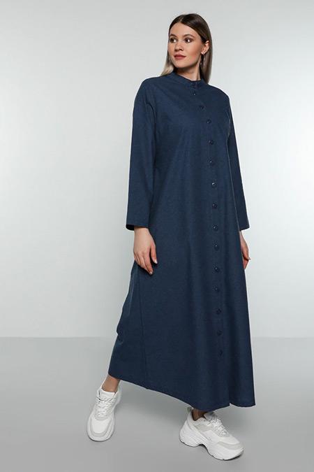 Alia Lacivert Boydan Düğmeli Elbise