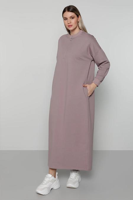 Alia Lila Yakası Fermuar Detaylı Elbise