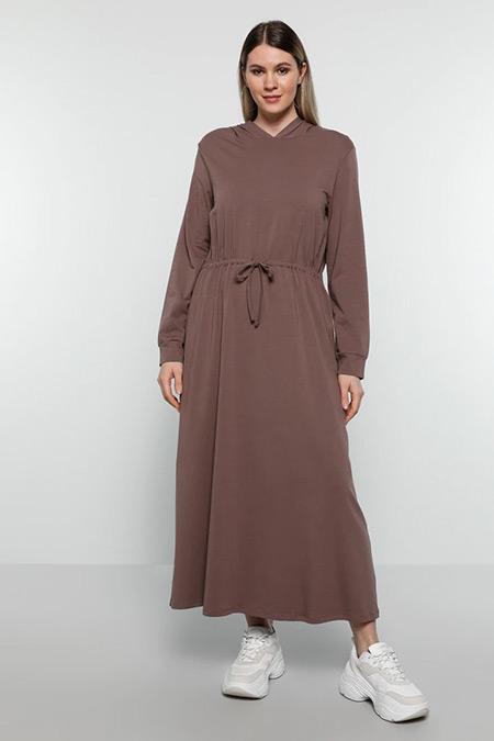 Alia Mor Doğal Kumaşlı Beli Bağcıklı Elbise