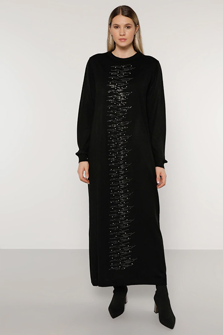Alia Siyah İnci Detaylı Triko Elbise