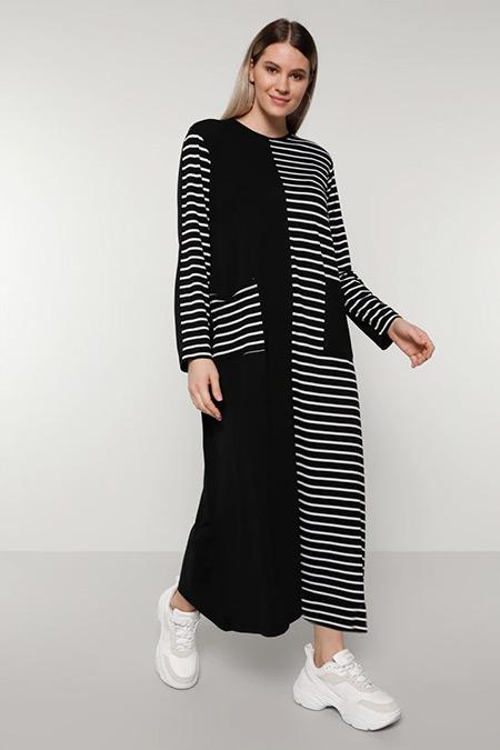 Alia Siyah Beyaz Doğal Kumaşlı Çizgili Elbise