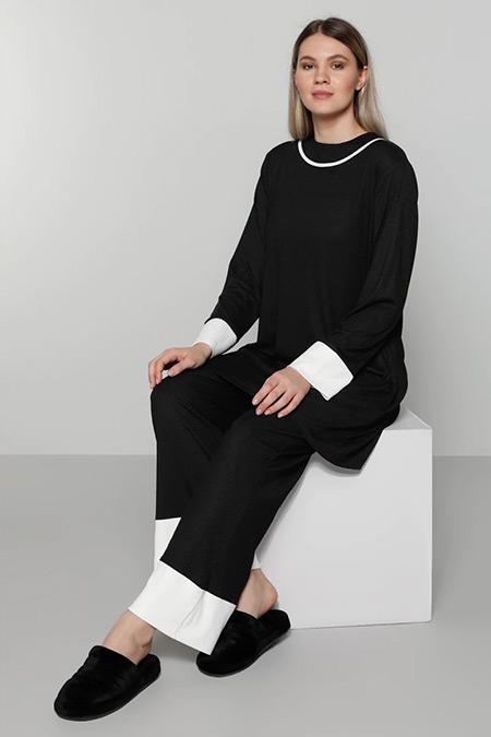 Alia Siyah Beyaz Tunik&Pantolon İkili Takım