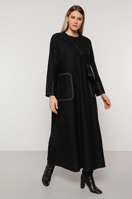 Alia Siyah Cep Detaylı Pamuklu Elbise
