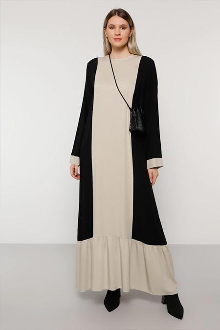 Alia Siyah Vizon Doğal Kumaşlı Garnili Elbise