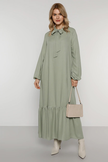 Alia Su Yeşili Yakası Bağcıklı Elbise