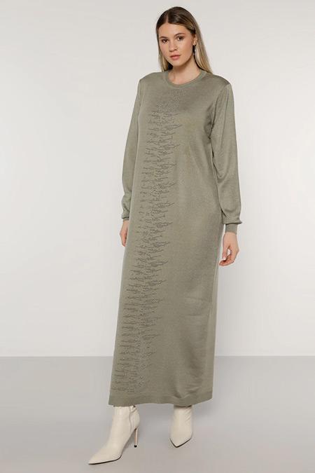 Alia Yağ Yeşili İnci Detaylı Triko Elbise