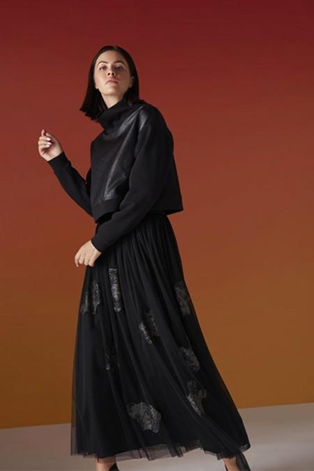 Almarwah Black Siyah Deri Bluzlu Tütü Etekli Takım