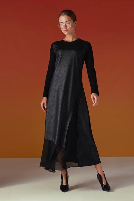 Almarwah Black Siyah Deri Elbise