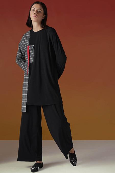 Almarwah Black Siyah Ekose Detaylı Tunik