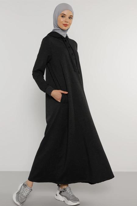 Benin Antrasit Çıtçıt Detaylı Kapüşonlu Elbise