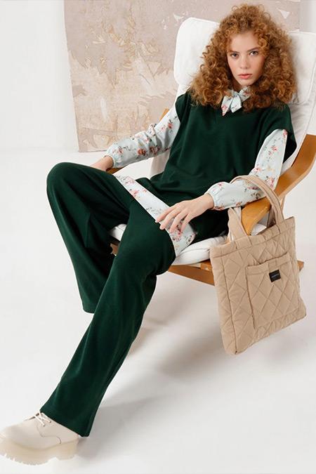Ceylan Otantik Yeşil Süveter&Pantolon İkili Triko Takım