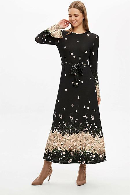 Defacto Siyah Desenli Uzun Kollu Örme Elbise