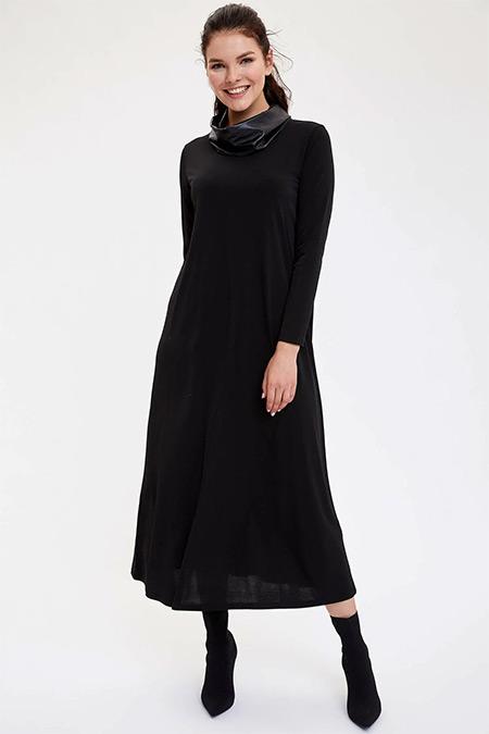 Defacto Siyah Uzun Kollu Relax Fit Örme Elbise
