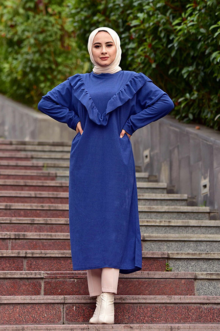 Elizamoda İndigo Fırfır Detaylı Tesettür Midi Elbise