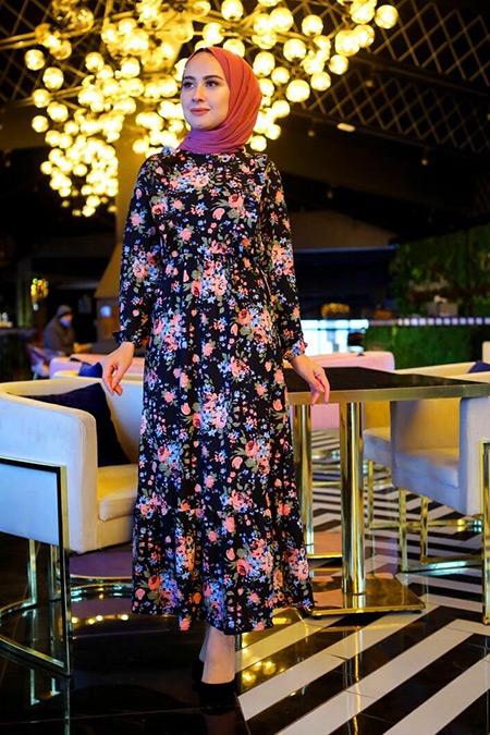 Elizamoda Pembe Fırfır Detaylı Bel Büzgülü Tesettür Elbise