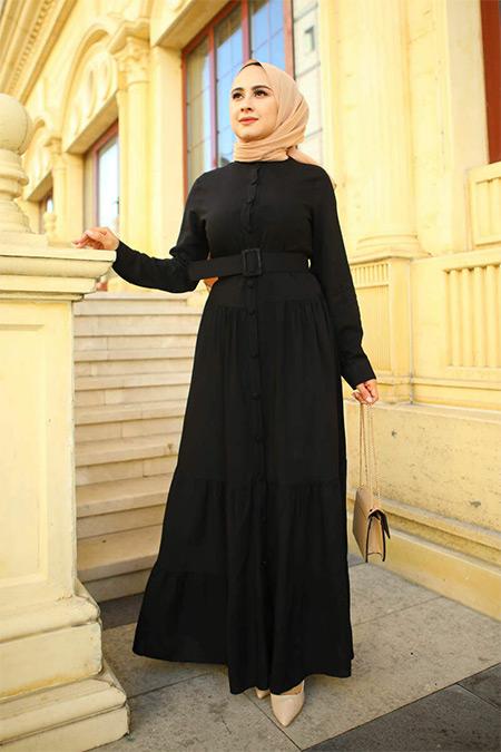 Elizamoda Siyah Düğmeli Tesettür Elbise