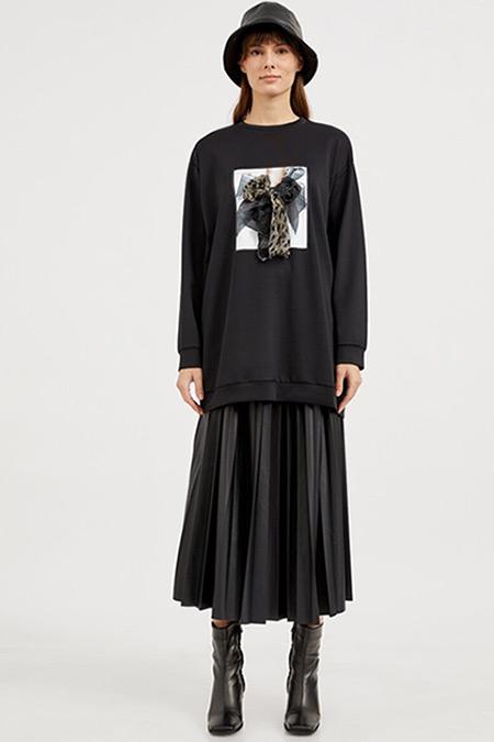 Habb Siyah Fiyonk Dalgıç Sweatshirt