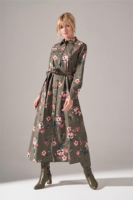 Mizalle Haki Önden Düğmeli Elbise